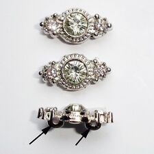 2-hole Silver Plated Rhinestone Metal Spacer Bead -6pcs Jewellery Making (#4252)
