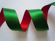 10yds Green Red Satin Christmas Holidays Wreath Wedding Bow Crafts Wired Ribbon
