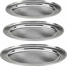 3 Edelstahl Oval Portion Tabletts 35cm 40cm & 45cm Servierplatten Buffet