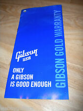 Gibson USA Gold Warranty Card J45 SJ Les Paul Jr SG ES 175 335 Flying V Explorer