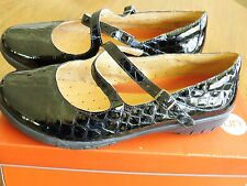 Clarks Unstructured UN.GLARE 10W Black Patent Croco Leather Mary Jane Shoes Flat