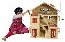 Large three-tier hut made of completely real wood wooden doll house wooden villa