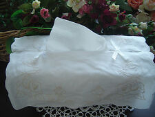 Shabby Rose Embroidery Ribbon Cotton Tissue Box Cover