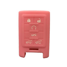 Pink 6 Button Silicone Smart Key Case Cover Holder Fob Skin fit for Cadillac