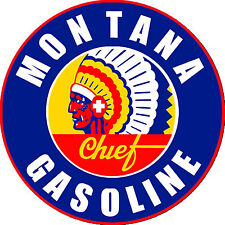 Montana Chief Gasoline metal tin sign Vintage style