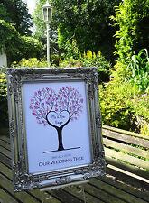 A3 Personnalisé Mariage Forme de Cœur arbre d'empreintes digitales, encre pad et signe