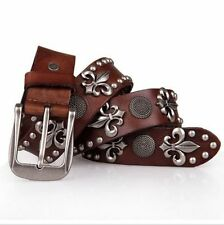 WFN Casual Men's Boys Genuine Leather Rivet Performance Stage Jeans Belt Cowboy