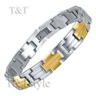MENS FASHION T&T Tow-Tone Gold 316L Stainless Steel Bracelet BBR69