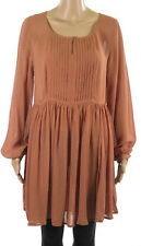 Next Chiffon Tunic Dress Pleated Front & Keyhole Top Cream Rust Brown Peach Pink