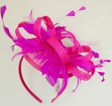 Pill Box Race Wedding Church Feather Fascinator Hatinator Headband Hot Pink