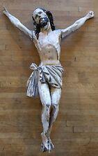 Christ, 17° - 18°siècle en bois sculpté polychrome, yeux en verre