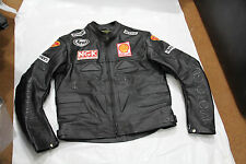 Mens Black Moto Guzzi Black Logo Motorcycle Racing Biker Leather Jacket XS 6XL