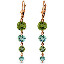 14K Solid Rose Gold Chandelier Earrings with Peridot & Blue Topaz
