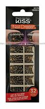32 KISS Nail Dress BLACK w/GOLD SPIDER WEB Art Strips/Appliques HALLOWEEN #62179