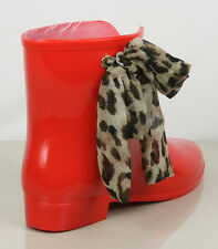 S316 - Ladies Wellies Leopard Print Ribbon Ankle Wellington Boots - UK 3 - 8