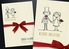 50 GATEFOLD PERSONALISED WEDDING INVITATIONS WITH ENVELOPES, RIBBON & FREE P&P
