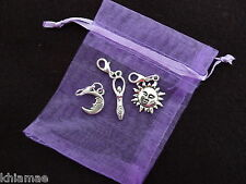 3 x Clip On Wiccan Bracelet Charms sun goddess moon yule pagan silver set