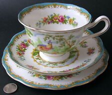 "Royal Albert CHELSEA BIRD Blue Bone China Teacup Cup Saucer 6.5"" Plate Trio"