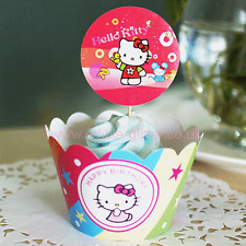 Themed Cupcake Muffin Wrappers & Toppers Cake Baking Decorating x12 HELLO KITTY