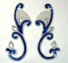 0034 ~ BLUE SILVER MIRROR PAIR SEQUIN BEADED APPLIQUES SEWING CRAFT MOTIF PATCH