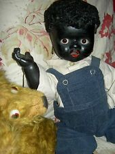 Large black, German antique character baby doll, ethnic features & googly eyes