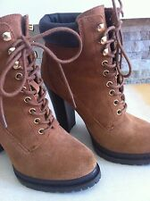 BCBGeneration Ankle Boots Tan Suede Leather Lace Up Size 7 1/2 Women's Shoes