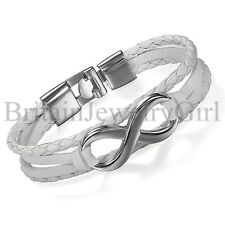 "7.9"" New Charm Infinity Leather Bracelet Men Women Friendship Valentine Day Cuff"