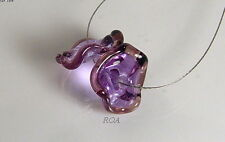 ROA Lampwork 2 Transparent Lavender & Purple USA Ruffle Disc Glass Beads SRA