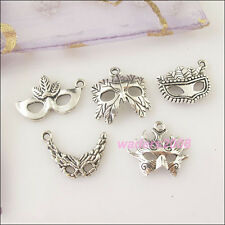 25 New Charms Silver Tone Mask Pendants Mixed for DIY Crafts