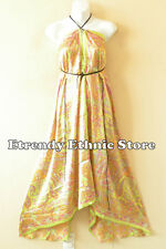 2D95 - Yellow Paisley Silk Multi Wear Scarf  Maxi Halter Dress Maternity