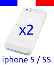 2 Coque transparente de protection plastique rigide crystal  pour iphone 5 5S
