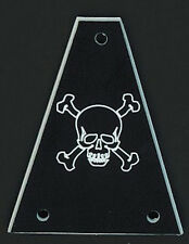 GUITAR TRUSS ROD COVER - Custom Engraved - Fits JACKSON - SKULL BONES - BLACK