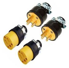 4 PC. Male & Female Extension Cord Replacement Plug Ends,125V,15AMP