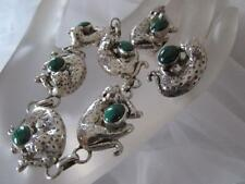 Vintage Carol Felley 3D Leopard Malachite Sterling Silver Set Bracelet&Earrings