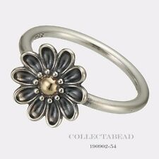 Authentic Pandora Sterling Silver & 14K Oopsie Daisy Ring Size 60 190902