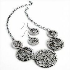 Antique Silver Tone Retro Circles Bling Crystals Feature Necklace Earrings Set
