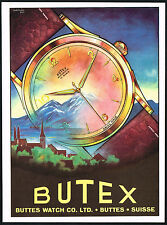 1950's Vintage 1952 Buttes Watch Co. Butex Automatic Wrist Watch Art Print AD