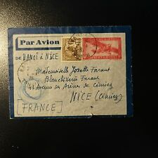 INDOCHINE LETTRE COVER ENTIER POSTAL 1938 HANOI TONKIN POUR NICE