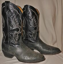 Vtg Tony Lama Cowboy Boots Suede Bull Shoulder Pointy Toe Gray & Black 10 D