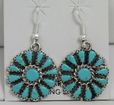 Navajo Indian Earrings Turquoise Petit Point Dangles Sterling Silver Leander Nez