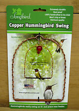Songbird Essentials Copper Hummingbird Swing Hanging Perch w/ Red Glass Bead