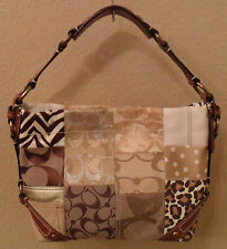 COACH Carly Tan Brown & Gold Patchwork Canvas Leather Hobo Bag (MAKE AN OFFER)