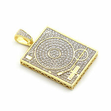 "Men's Gold Plated Hip Hop Turn Table w/ 3mm 30"" Cuban Chain Neckless"