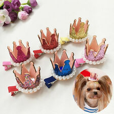 10PCS Pets Dog Hair Bows Clips pearl crown mixed Hairpins Grooming accessories