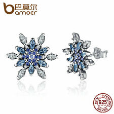 Bamoer S925 Sterling Silver Stud Earring Crystalized Snowflake Blue and Clear CZ