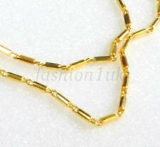 Collana CATENA CON ANELLO A MOLLA Uomini Unisex 24k giallo oro placcato 45cm qualità Rod