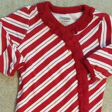 GYMBOREE 0-3 MONTH RED & WHITE RIBBON FOOTED SLEEP N PLAY OUTFIT ADORABLE