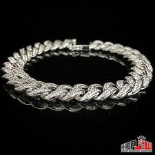 White Gold Finish .925 Silver Simulated Diamond Bracelet Cuban Link Hip Hop New