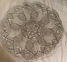 """Vintage 12"""" Pressed Glass Serving Dish, Plate, Tray"""