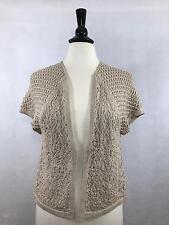 DANA BUCHMAN Size M Medium Womens Crocheted Short Sleeve Cardigan Shrug Tan EUC